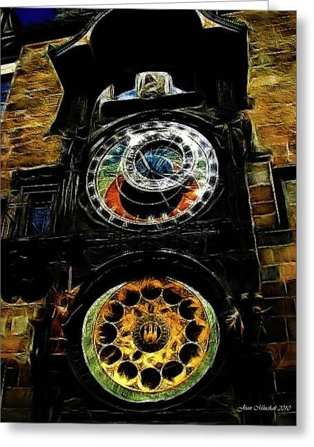 Prague Clock Greeting Card by Joan  Minchak