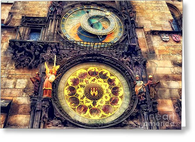 Prague Clock Orloj Watercolor Greeting Card by Justyna JBJart