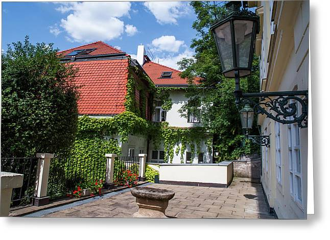 Greeting Card featuring the photograph Prague Courtyards. Old Lantern by Jenny Rainbow