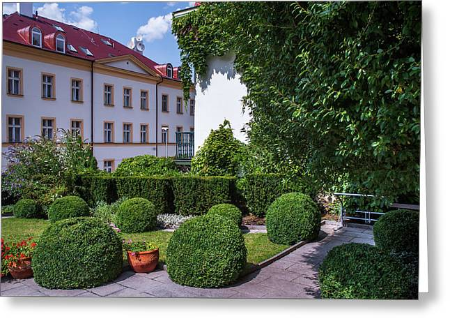 Greeting Card featuring the photograph Prague Courtyards. Regular Style Garden by Jenny Rainbow