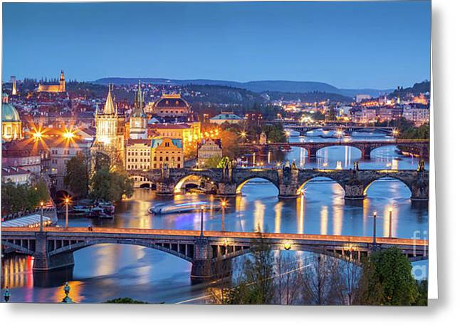 Prague, Czech Republic Bridges Panorama. Charles Bridge And Vltava River At Night Greeting Card by Michal Bednarek