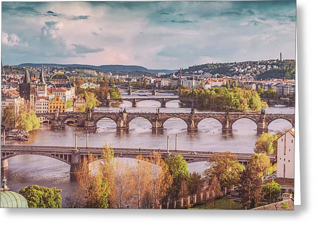 Prague, Czech Republic Bridges Skyline With Historic Charles Bridge And Vltava River. Vintage Greeting Card by Michal Bednarek
