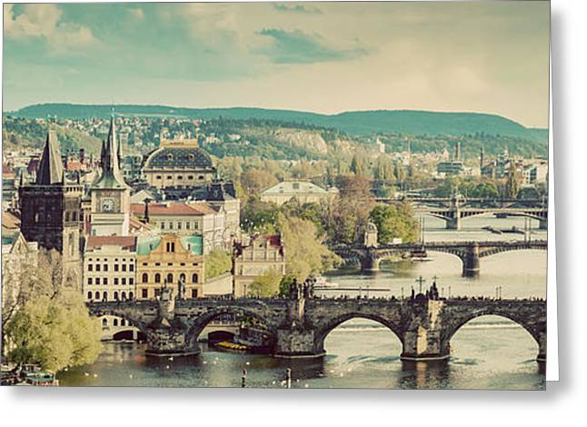 Prague, Czech Republic Bridges Skyline With Historic Charles Bridge Greeting Card by Michal Bednarek