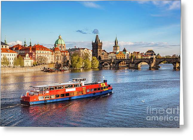 Prague, Czech Republic. Charles Bridge, Boat Cruise On Vltava River Greeting Card by Michal Bednarek