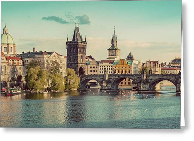 Prague, Czech Republic Panorama With Historic Charles Bridge And Vltava River Greeting Card by Michal Bednarek