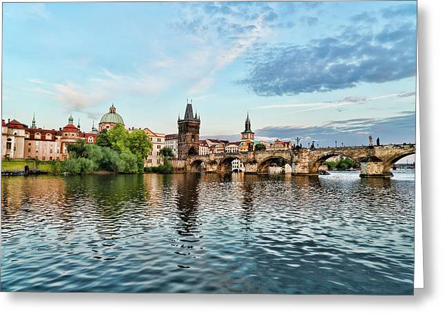 Prague From The River Greeting Card