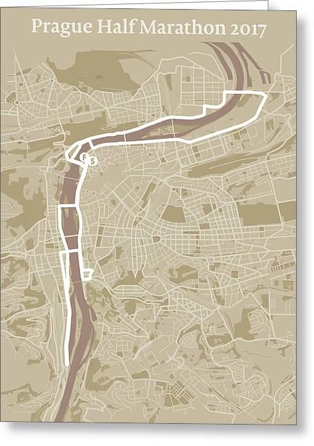 Prague Half Marathon #1 Greeting Card by Big City Artwork