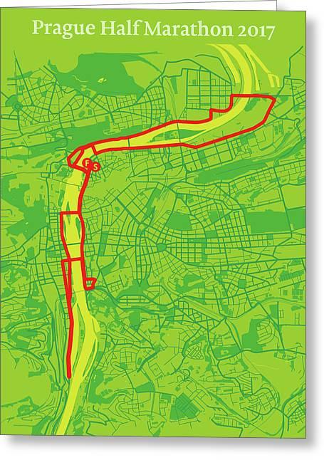 Prague Half Marathon #2 Greeting Card by Big City Artwork