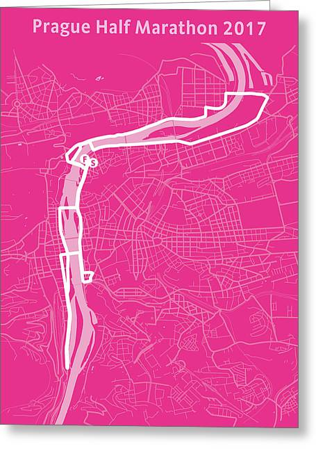 Prague Half Marathon Magenta Greeting Card by Big City Artwork