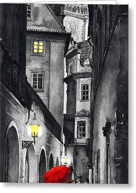 White Digital Greeting Cards - Prague Love Story Greeting Card by Yuriy  Shevchuk