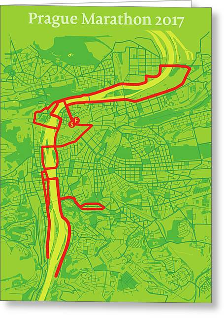 Prague Marathon #2 Greeting Card by Big City Artwork