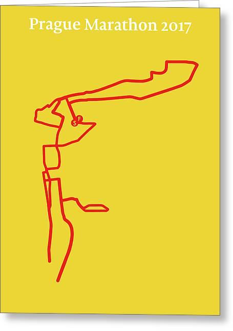 Prague Marathon Line Greeting Card