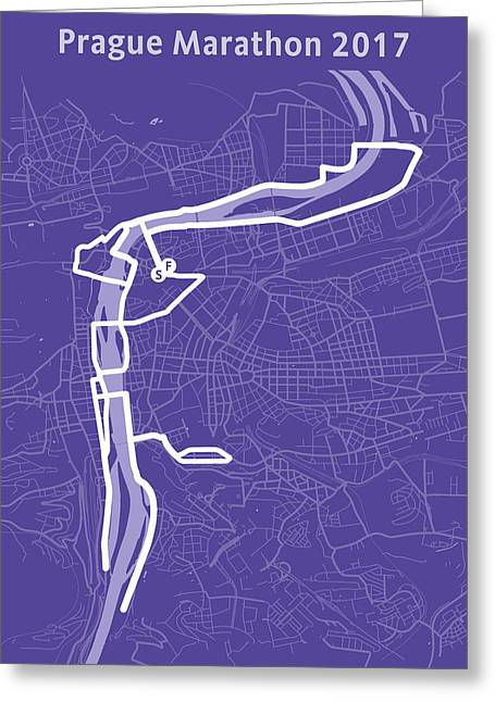 Prague Marathon Purple Greeting Card by Big City Artwork