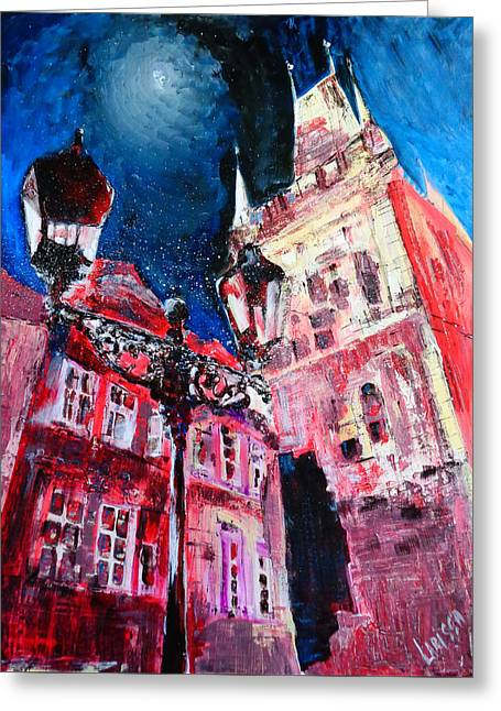 Prague Night Greeting Card by Larissa Pirogovski