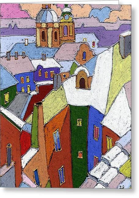 Prague Old Roofs Winter Greeting Card by Yuriy  Shevchuk
