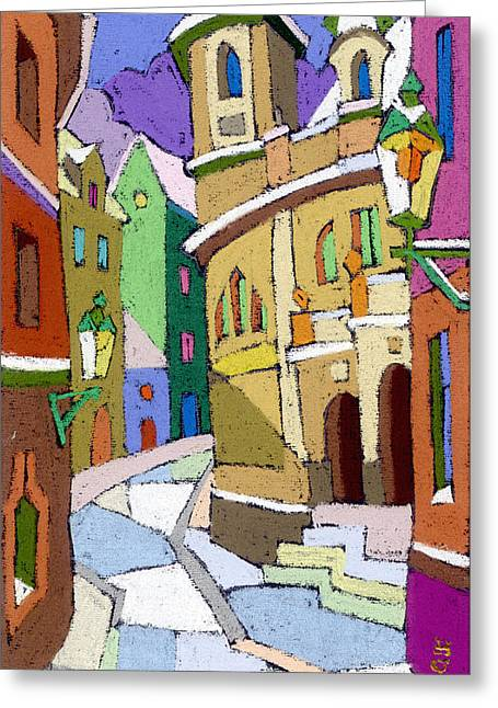 Prague Old Street Karlova Winter Greeting Card