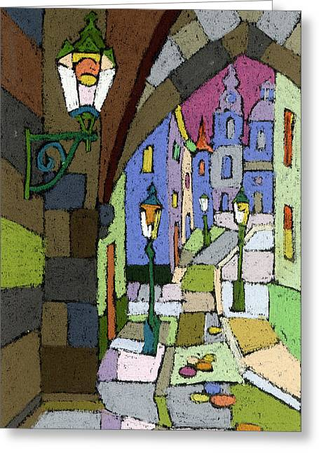 Prague Old Street Mostecka Greeting Card by Yuriy  Shevchuk