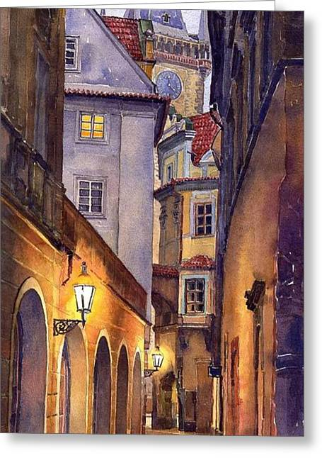 City Scenes Paintings Greeting Cards - Prague Old Street  Greeting Card by Yuriy  Shevchuk