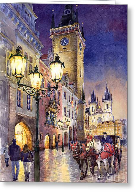 Streetscape Greeting Cards - Prague Old Town Square 3 Greeting Card by Yuriy  Shevchuk