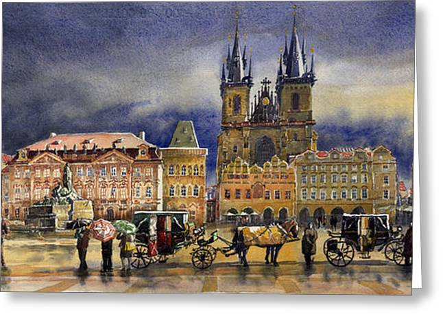 Watercolour Greeting Cards - Prague Old Town Squere After rain Greeting Card by Yuriy  Shevchuk