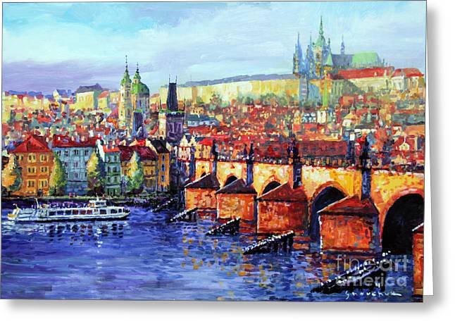 Prague Panorama Charles Bridge 07 Greeting Card