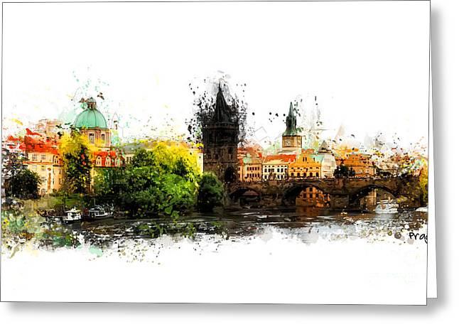 Prague Panorame Greeting Card by Justyna JBJart