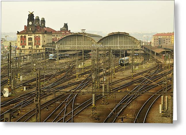 Prague Railroad Station Greeting Card by Marek Stepan