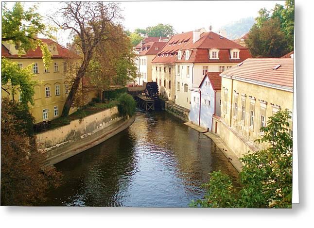 Prague River Scene Greeting Card