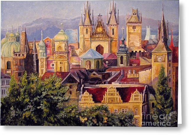 Prague. Roofs. Greeting Card by Anna Berezina