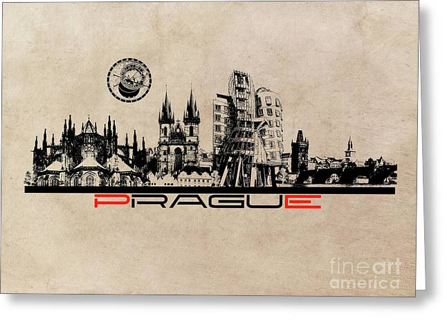 Prague Skyline City Greeting Card