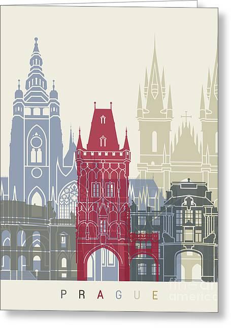 Prague Skyline Poster Greeting Card by Pablo Romero