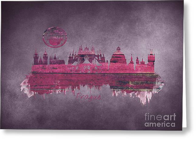 Prague Skyline Purple Greeting Card