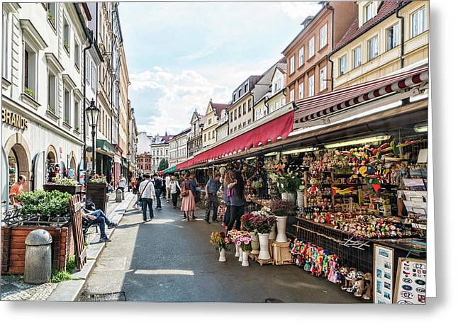 Prague Street Market Greeting Card