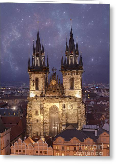 Prague.  Tyn Church Greeting Card by Juli Scalzi