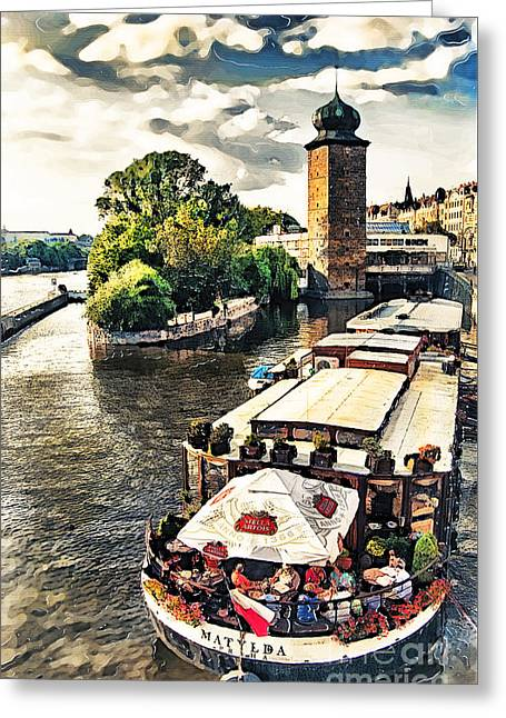 Prague Vltava River Cruise Watercolor Greeting Card by Justyna JBJart