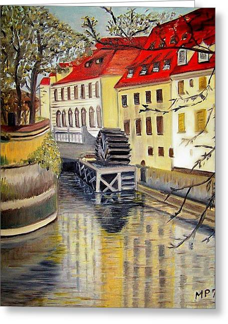 Prague Paintings Greeting Cards - Prague Watermill Greeting Card by Madeleine Prochazka