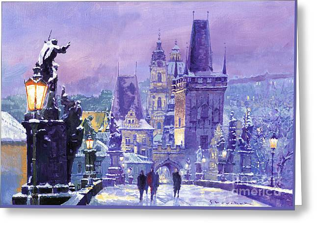 Prague Winter Charles Bridge Greeting Card by Yuriy Shevchuk