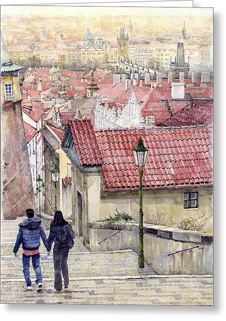 Red-roofed Buildings Greeting Cards - Prague Zamecky Schody Castle Steps Greeting Card by Yuriy  Shevchuk