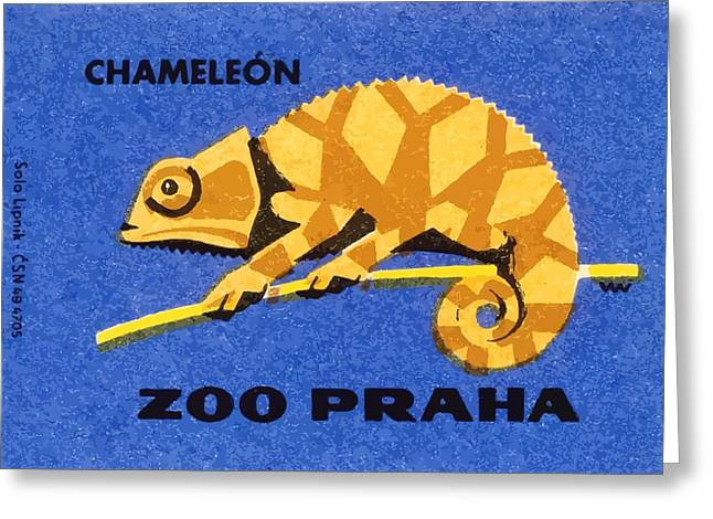 Prague Zoo Chameleon Matchbox Label Greeting Card