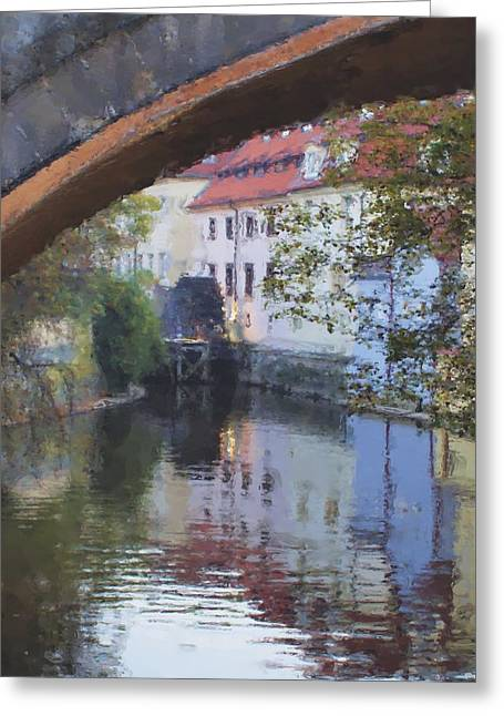 Praha Canal Dusk Greeting Card by Shawn Wallwork