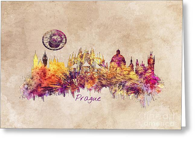 Praha Skyline Art Greeting Card