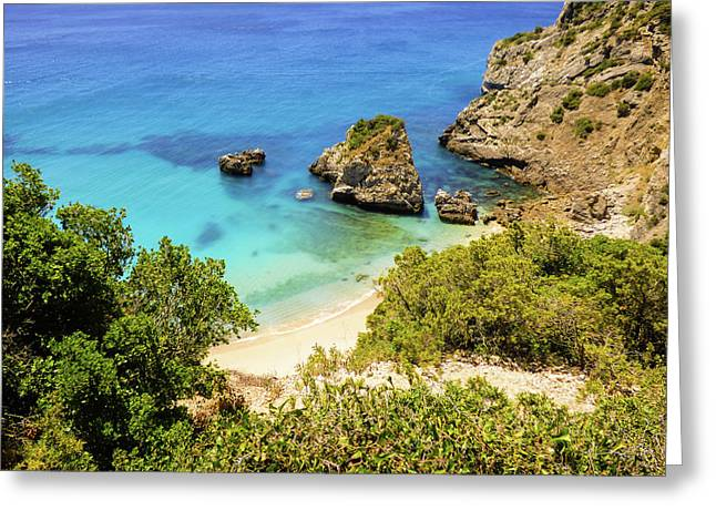 Praia Da Ribeira Do Cavalo In Sesimbra, Portugal Greeting Card