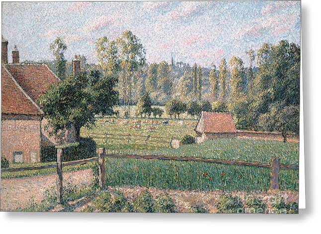 Prairie At Eragny, 1889 Greeting Card by Camille Pissarro