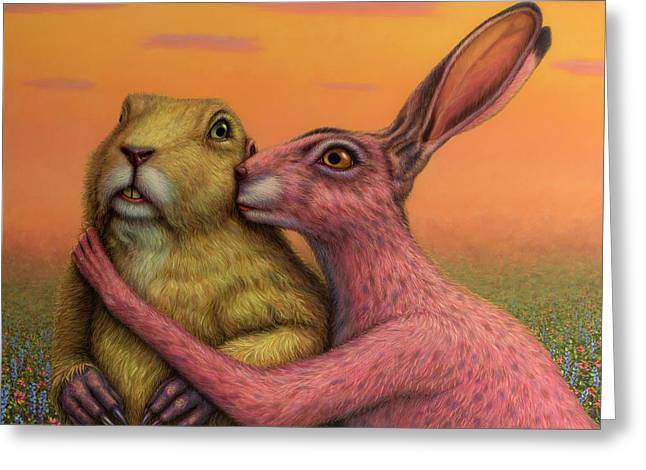 Prairie Dog And Rabbit Couple Greeting Card