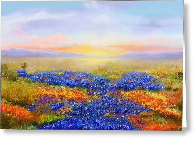 Greeting Card featuring the painting Prairie In Bloom by Sena Wilson