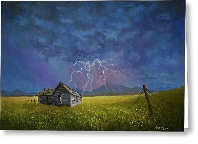 Prairie Storm Greeting Card by C Steele