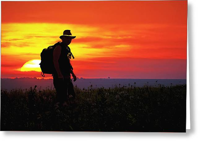 Prairie Sundown Greeting Card by Keith Bridgman