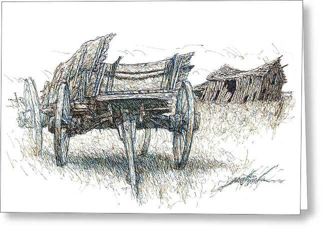 Prairie Wagon And Barn Ready To Fall Greeting Card by Larry Prestwich