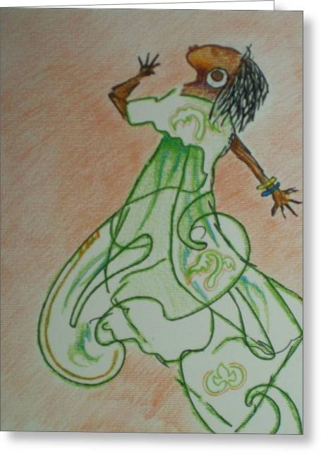 Greeting Card featuring the drawing Praise Dance by Raymond Doward