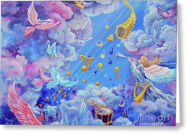 Greeting Card featuring the painting Praise Him From The Heavens by Nancy Cupp